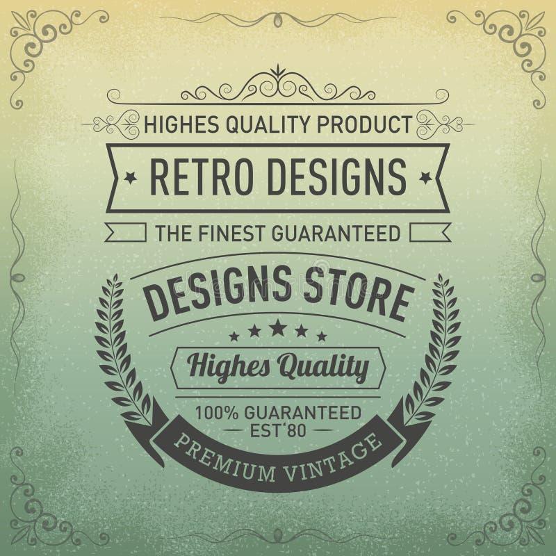 Diseño del logotipo de la tipografía en el estilo retro, tienda del diseño, calidad superior Etiqueta garantizada del vintage ilustración del vector