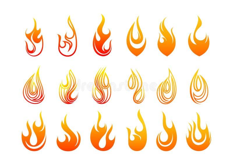 Diseño del logotipo de las llamas stock de ilustración
