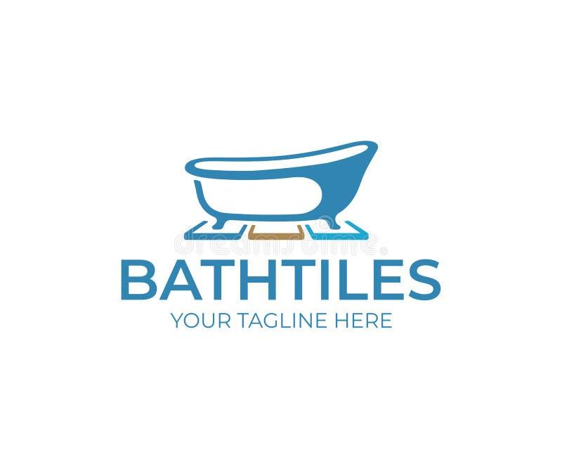 Diseño del logotipo de las tejas del cuarto de baño Diseño del vector de la bañera y de las baldosas libre illustration