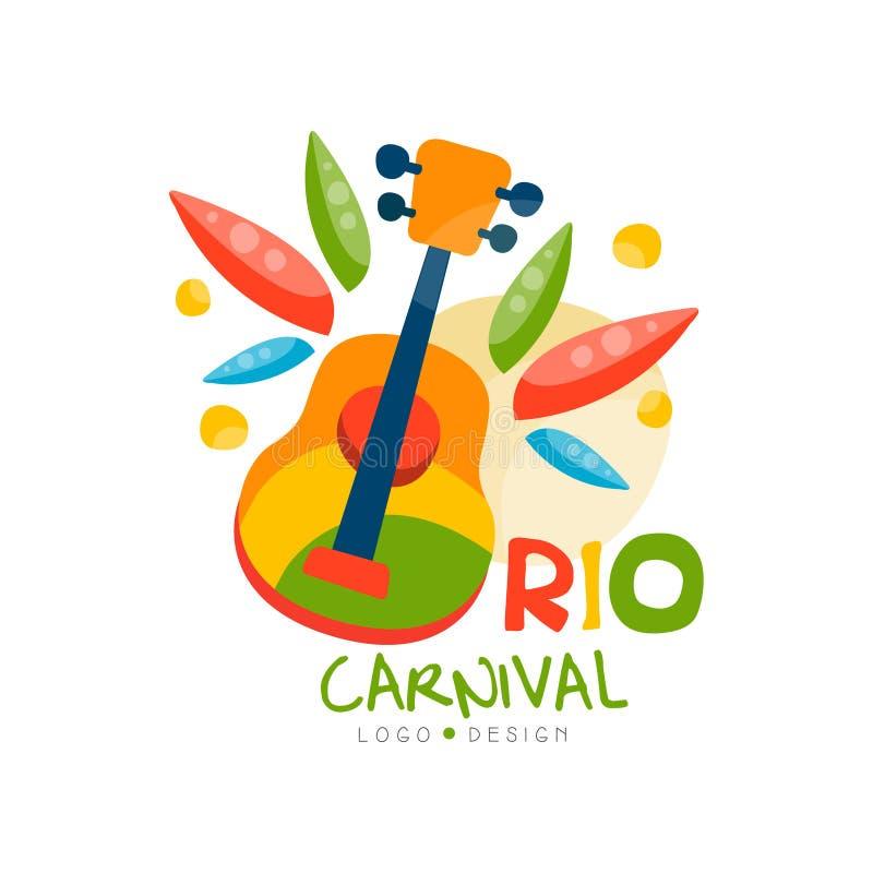 Diseño del logotipo de Rio Carnival, bandera festiva brillante del partido con el ejemplo del vector de la guitarra en un fondo b ilustración del vector