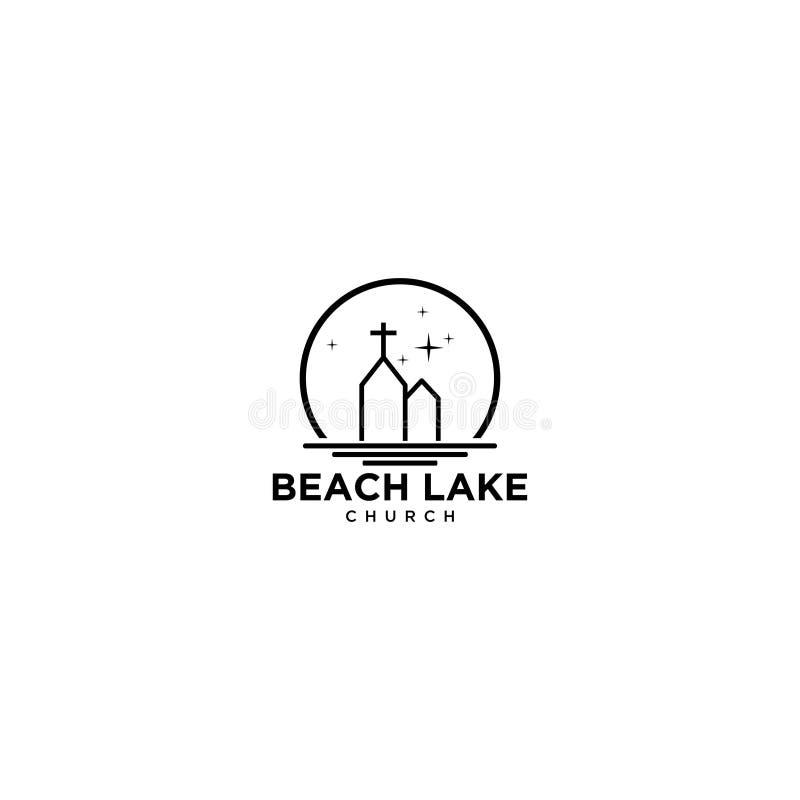 Diseño del logotipo de Sunset Beach con el estilo de dibujo de la línea Mono - Vector libre illustration