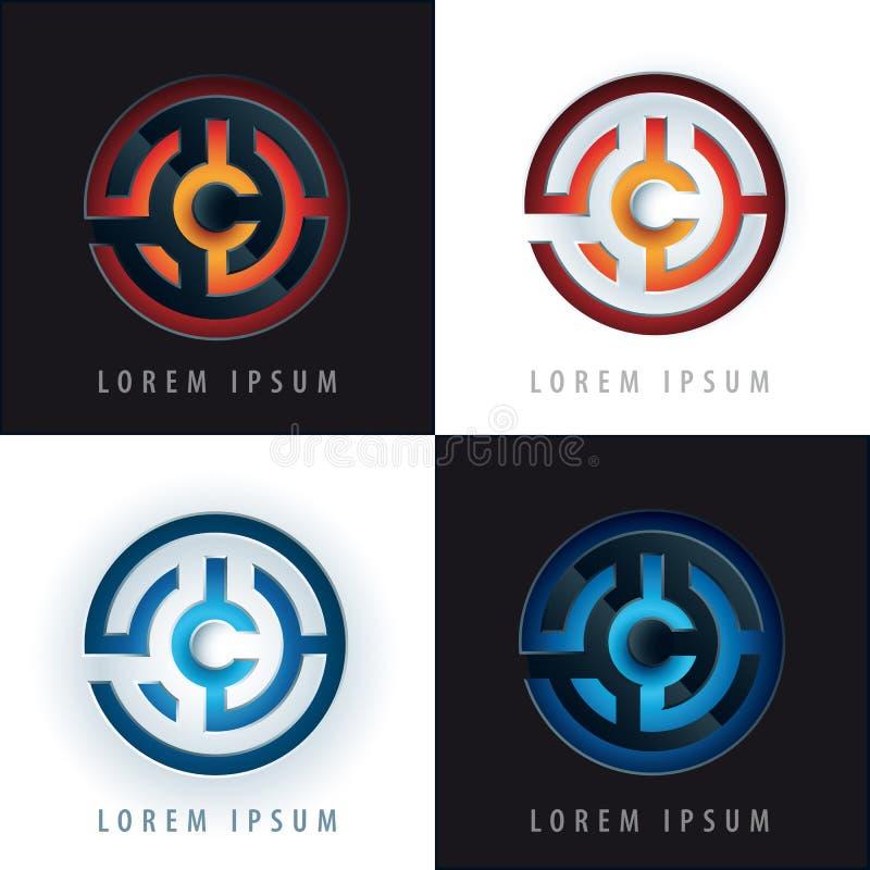 Diseño del logotipo del laberinto con el efecto 3D ilustración del vector