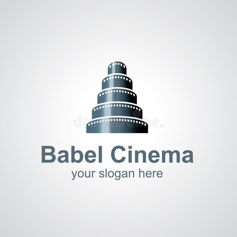 Diseño del logotipo del vector de Babel Cinema stock de ilustración