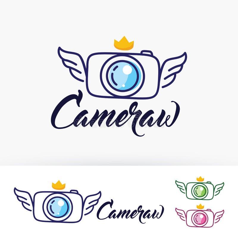 Diseño del logotipo del vector de las alas de la cámara stock de ilustración
