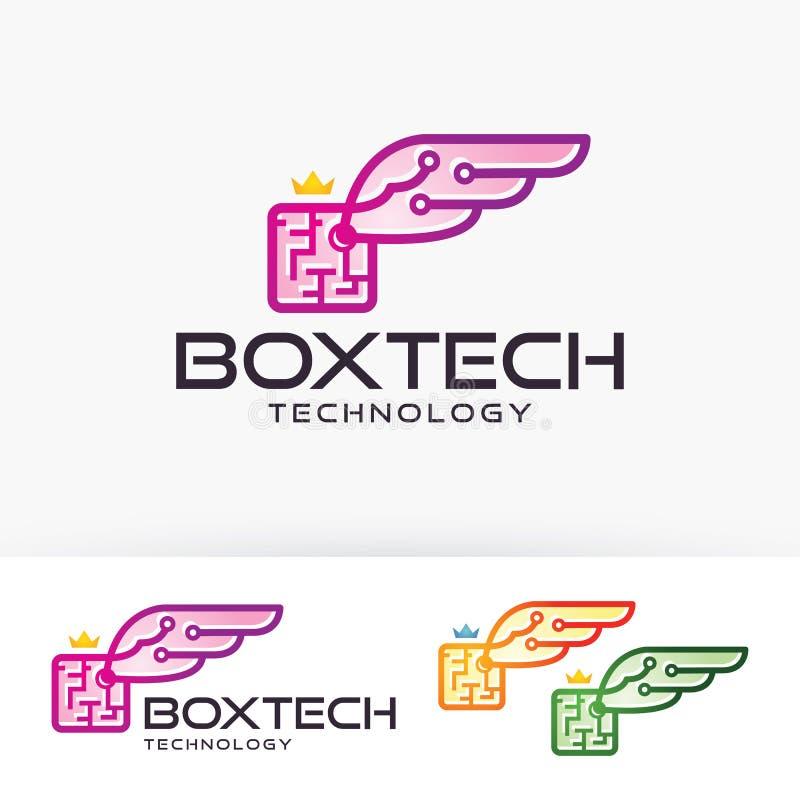 Diseño del logotipo del vector de las alas de la caja libre illustration