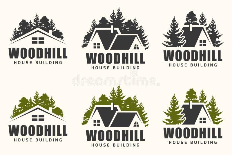 Diseño del logotipo del vector de una silueta de los árboles y de una pequeña casa stock de ilustración