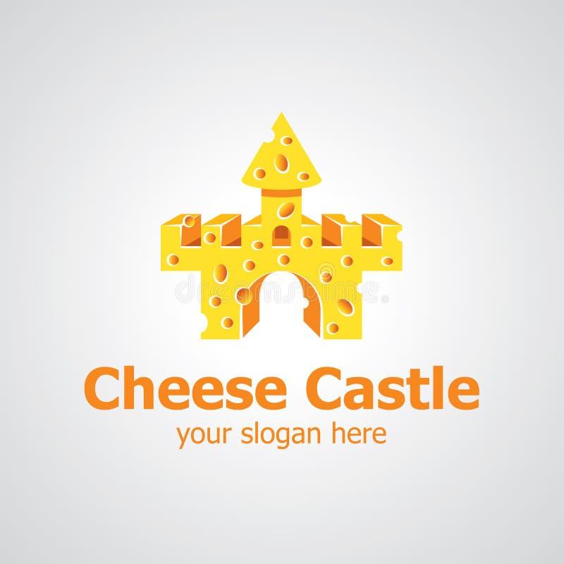 Diseño del logotipo del vector del castillo del queso libre illustration