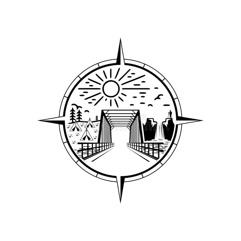 Diseño del logotipo del emblema del puente ilustración del vector