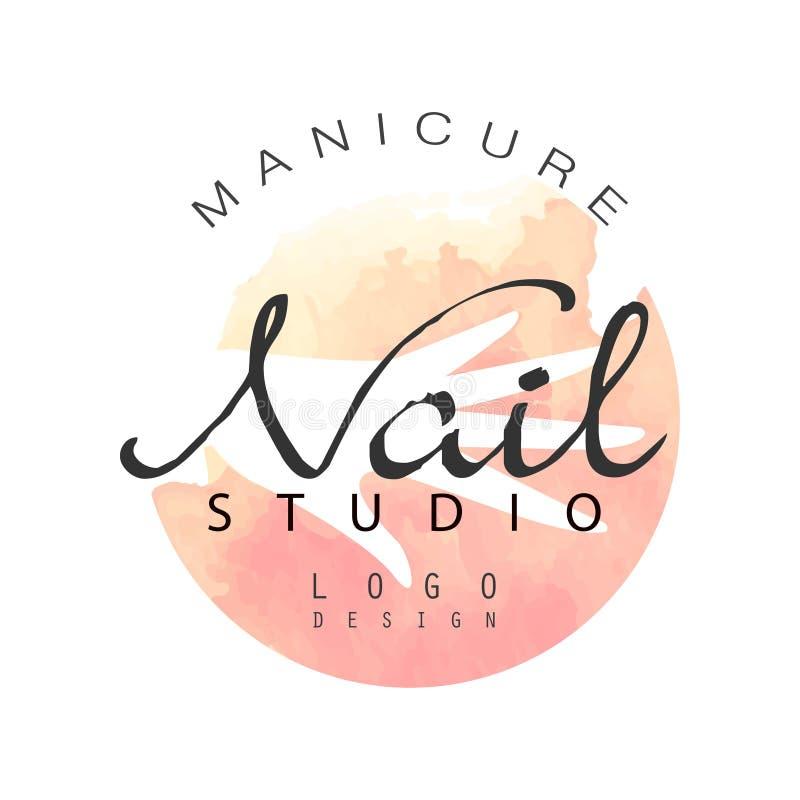 Diseño del logotipo del estudio del clavo de la manicura, plantilla para la barra de clavo, salón de la belleza, ejemplo del vect ilustración del vector