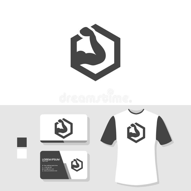 Diseño del logotipo del gimnasio con la tarjeta de visita y la maqueta de la camiseta ilustración del vector