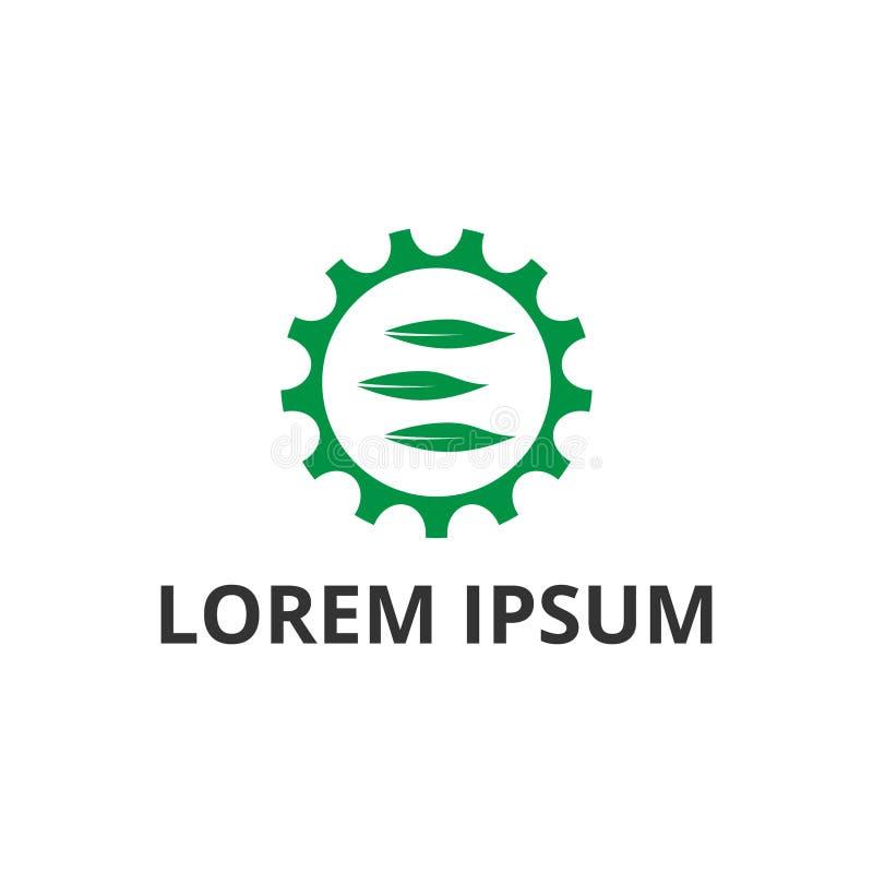 Diseño del logotipo del icono del engranaje y de la hoja del ejemplo del vector stock de ilustración
