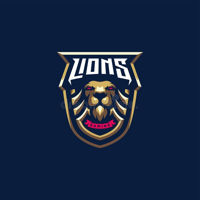 Diseño del logotipo del león, vector, ejemplo ilustración del vector