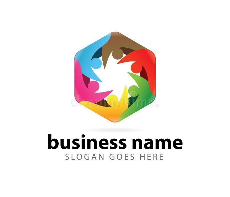 Diseño del logotipo del logro del éxito del líder de la organización de la comunidad stock de ilustración