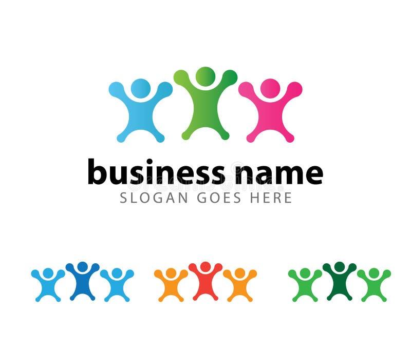 Diseño del logotipo del logro del éxito del líder de la organización de la comunidad libre illustration