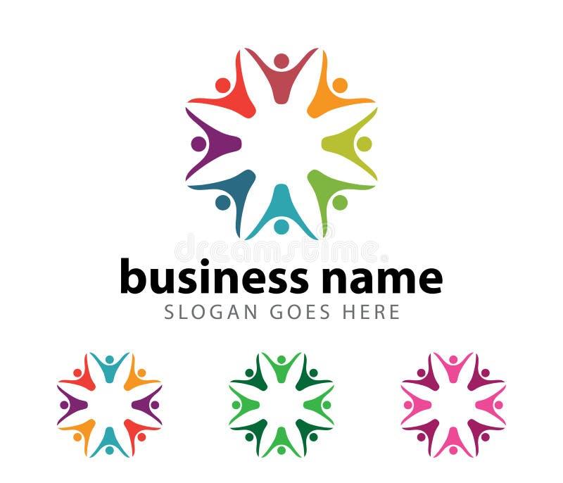 Diseño del logotipo del logro del éxito del líder de la organización de la comunidad ilustración del vector
