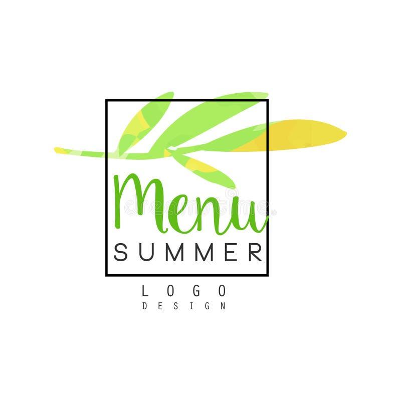 Diseño del logotipo del menú del verano, insignia para la comida y las bebidas sanas, restaurante vegetariano y menú de la barra, libre illustration