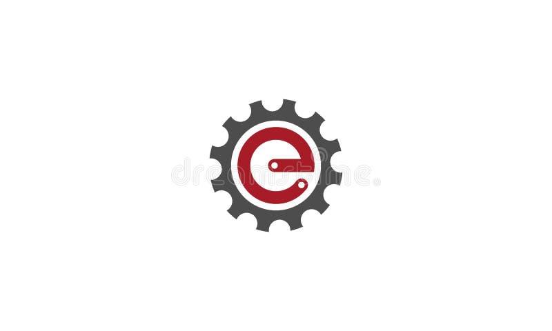 Diseño del logotipo del motor, logotipo de la letra de e plantilla del concepto del engranaje ilustración del vector