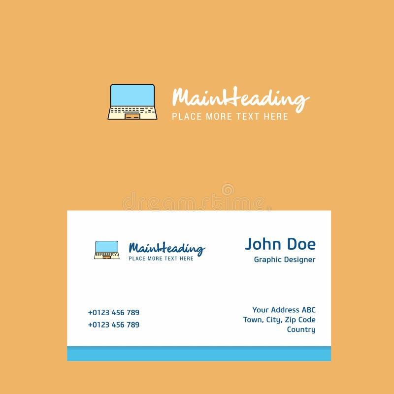 Diseño del logotipo del ordenador portátil con la plantilla de la tarjeta de visita Identidad corporativa elegante - El fichero d libre illustration