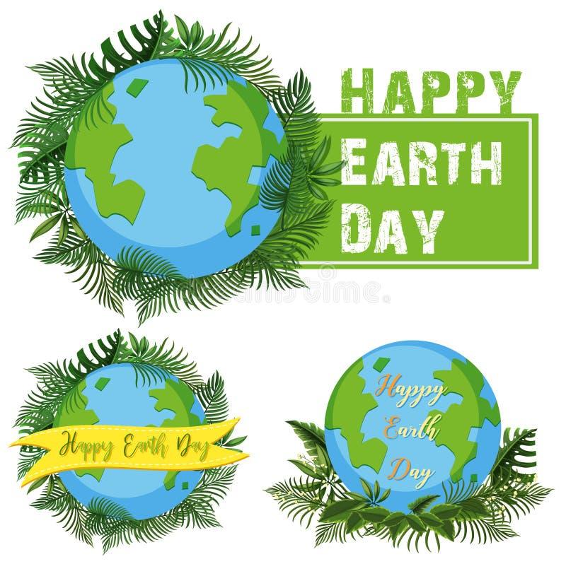 Diseño del logotipo para el Día de la Tierra feliz stock de ilustración