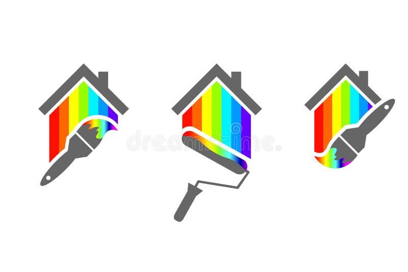 Diseño del logotipo del pintor de casas stock de ilustración