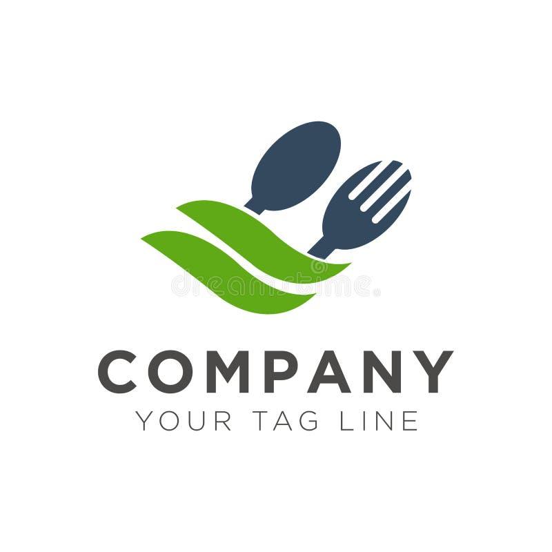 Diseño del logotipo del restaurante de la bifurcación y de la cuchara con la hoja verde ilustración del vector