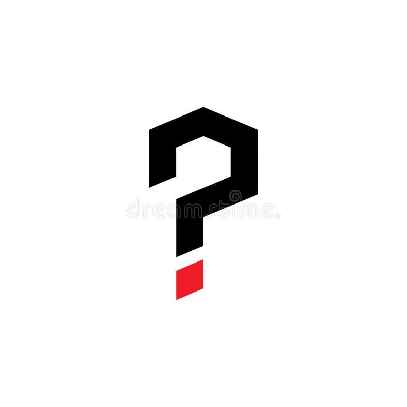 Diseño del logotipo del signo de interrogación stock de ilustración