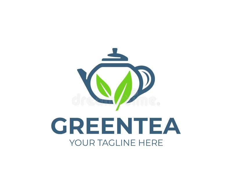 Diseño del logotipo del té verde Tetera con diseño del vector de las hojas stock de ilustración