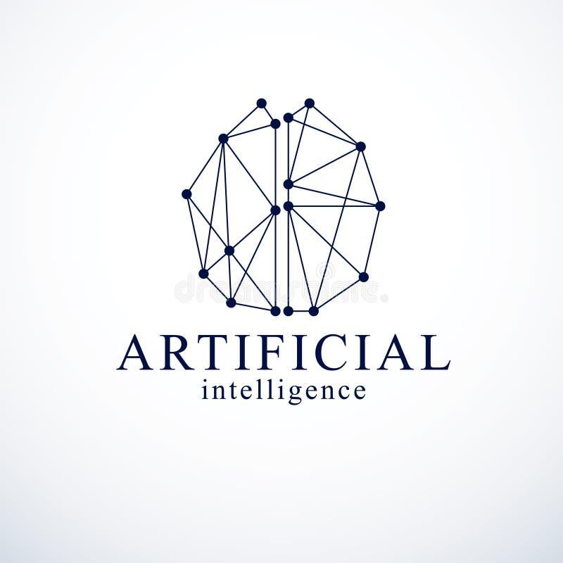 Diseño del logotipo del vector del concepto de la inteligencia artificial Anatom humano ilustración del vector