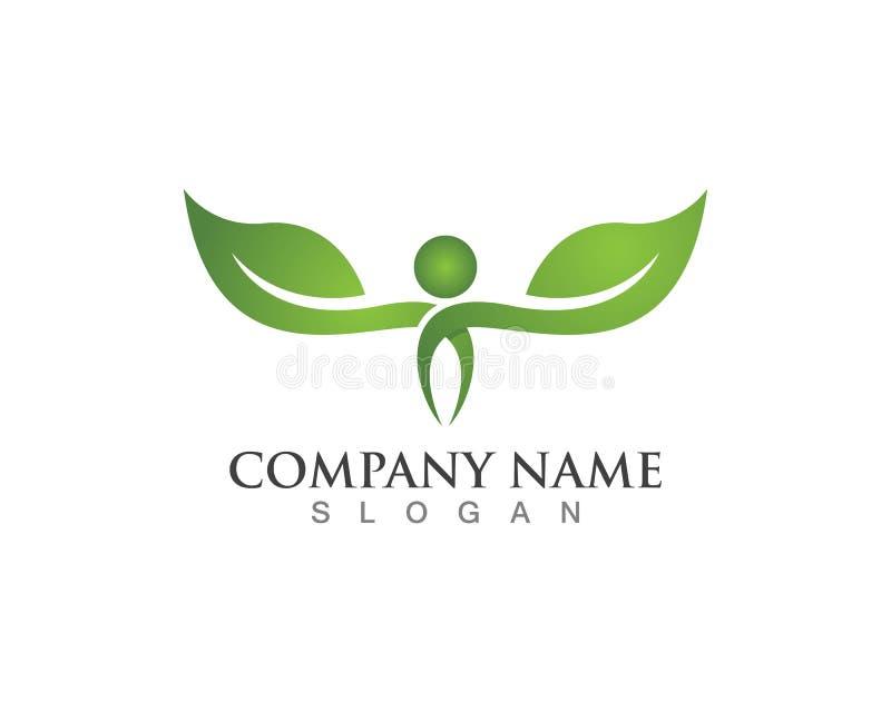 Diseño del logotipo del vector de la hoja del árbol, concepto respetuoso del medio ambiente libre illustration