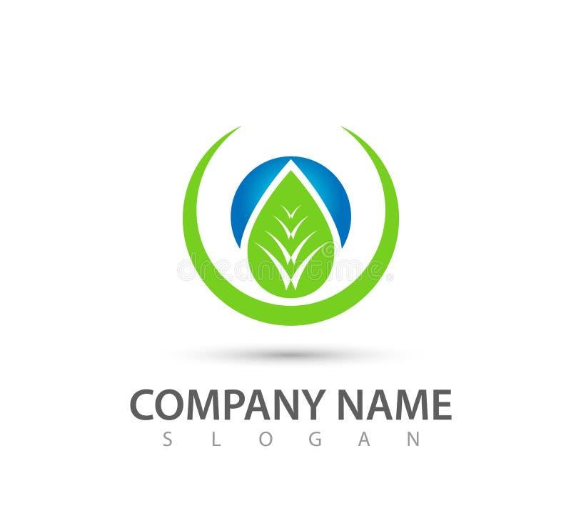 Diseño del logotipo del vector de la hoja del árbol, concepto respetuoso del medio ambiente verde, reciclaje, botánico stock de ilustración