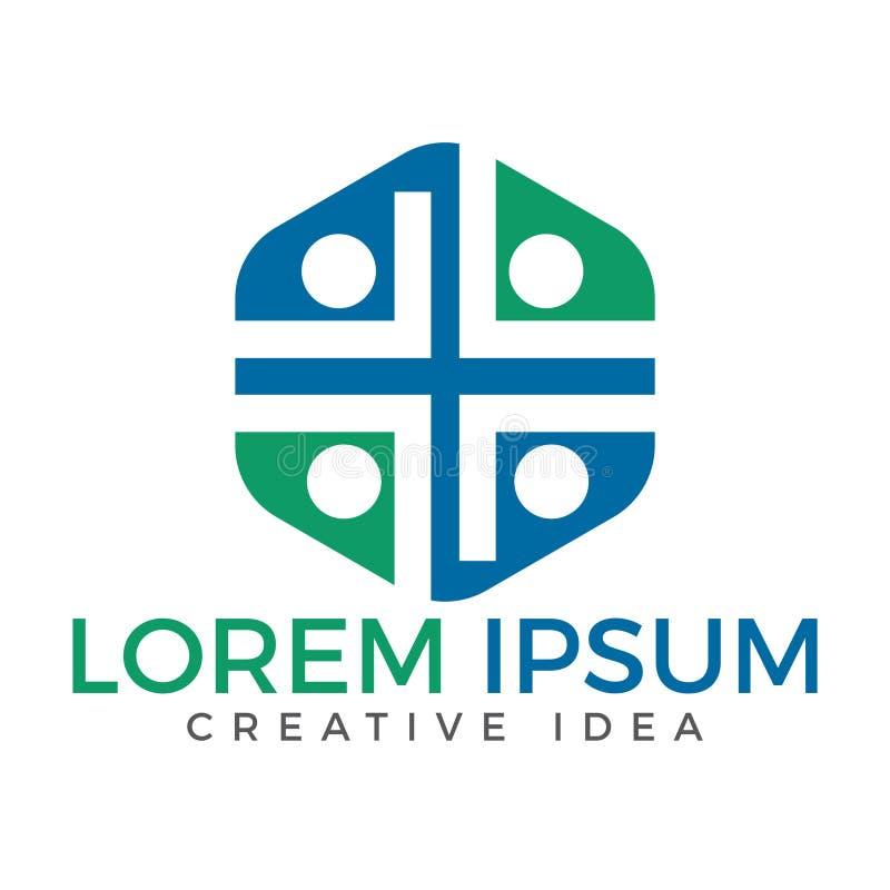 Diseño del logotipo del vector de la iglesia de la gente ilustración del vector