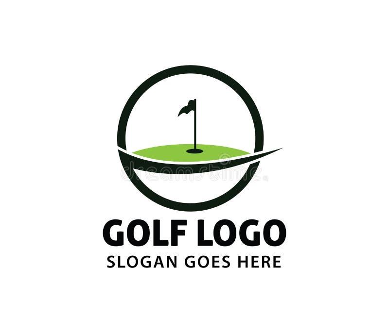Diseño del logotipo del vector de la liga del campeonato de la comunidad del campo del curso del deporte del golf stock de ilustración