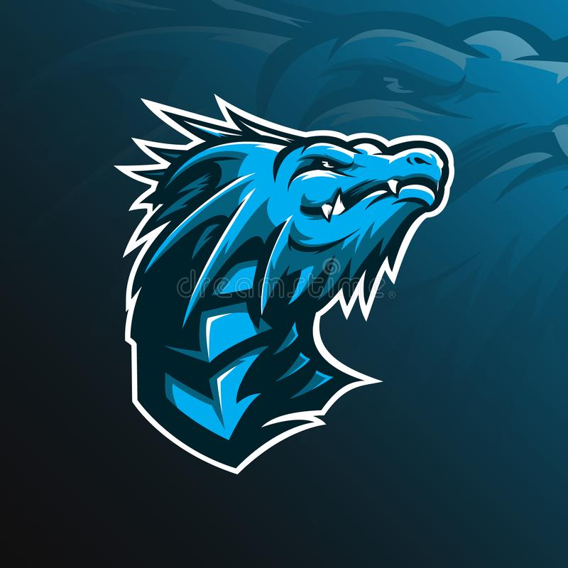 Diseño del logotipo del vector de la mascota del dragón con el estilo moderno del concepto del ejemplo para la impresión de la in ilustración del vector