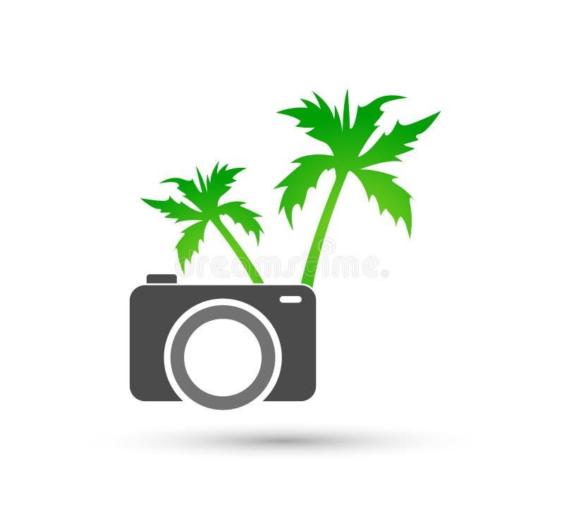 Diseño del logotipo del vector de la palmera de coco de la playa del verano del día de fiesta del turismo del hotel del árbol de  ilustración del vector