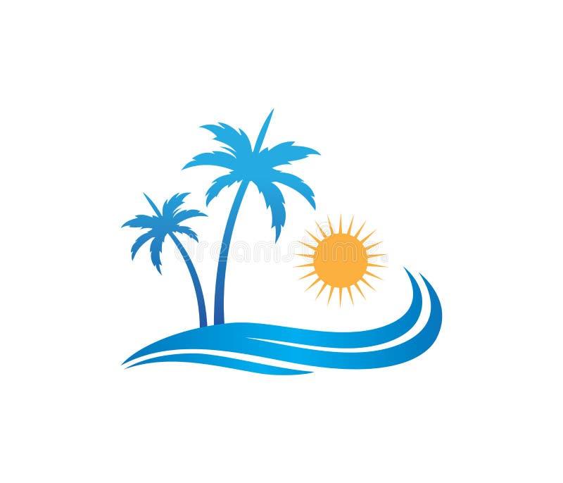 Diseño del logotipo del vector de la palmera del coco de la playa del verano del día de fiesta del turismo del hotel ilustración del vector