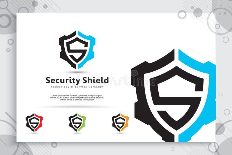 Diseño del logotipo del vector de la tecnología del escudo de la seguridad con el concepto moderno, símbolo abstracto del ejemplo ilustración del vector