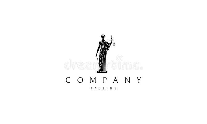 Diseño del logotipo 3 del vector de señora Justice Statue Black ilustración del vector