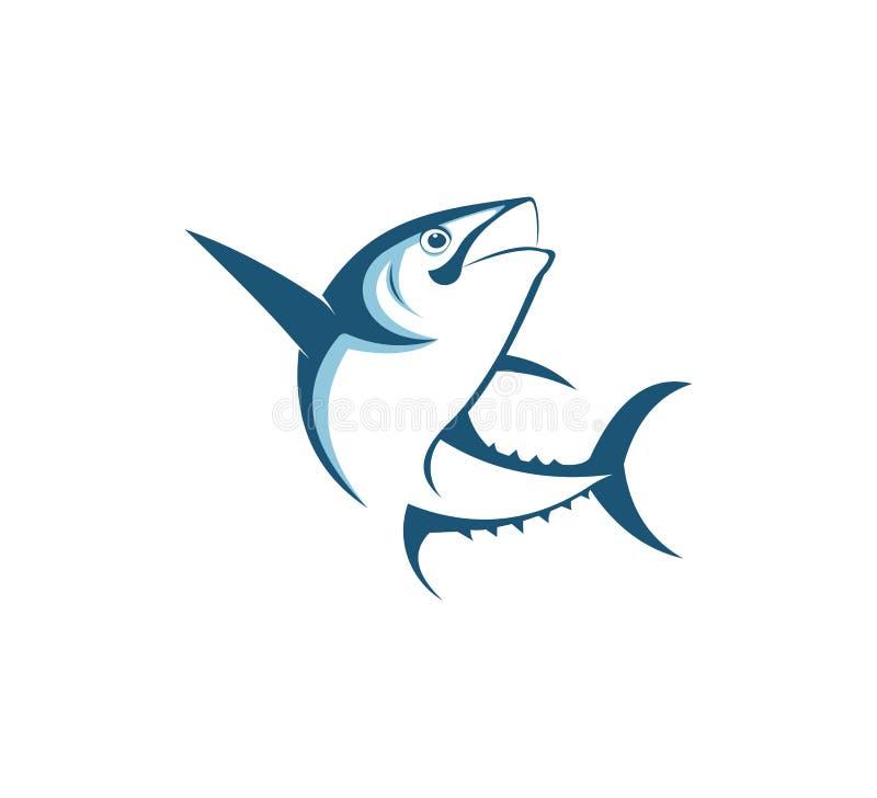 diseño del logotipo del vector del icono de la pesca deportiva o del pescador stock de ilustración