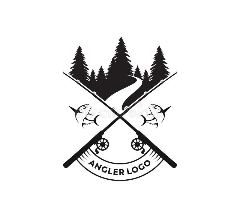 diseño del logotipo del vector del icono de la pesca deportiva o del pescador ilustración del vector