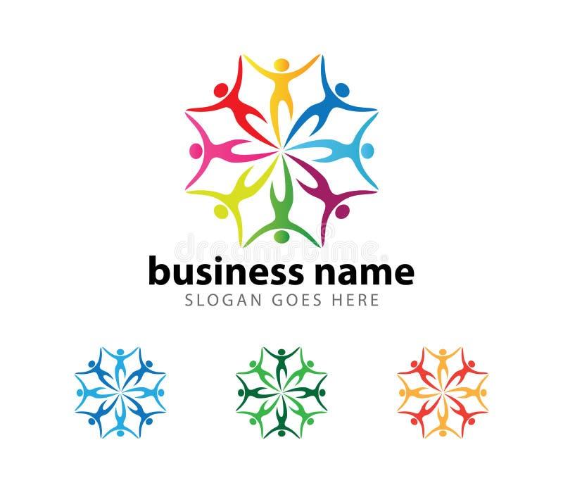 Diseño del logotipo del vector del logro del éxito del líder de la organización de la comunidad stock de ilustración