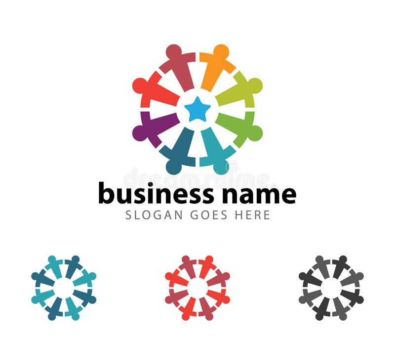 Diseño del logotipo del vector del logro del éxito del líder de la organización de la comunidad libre illustration