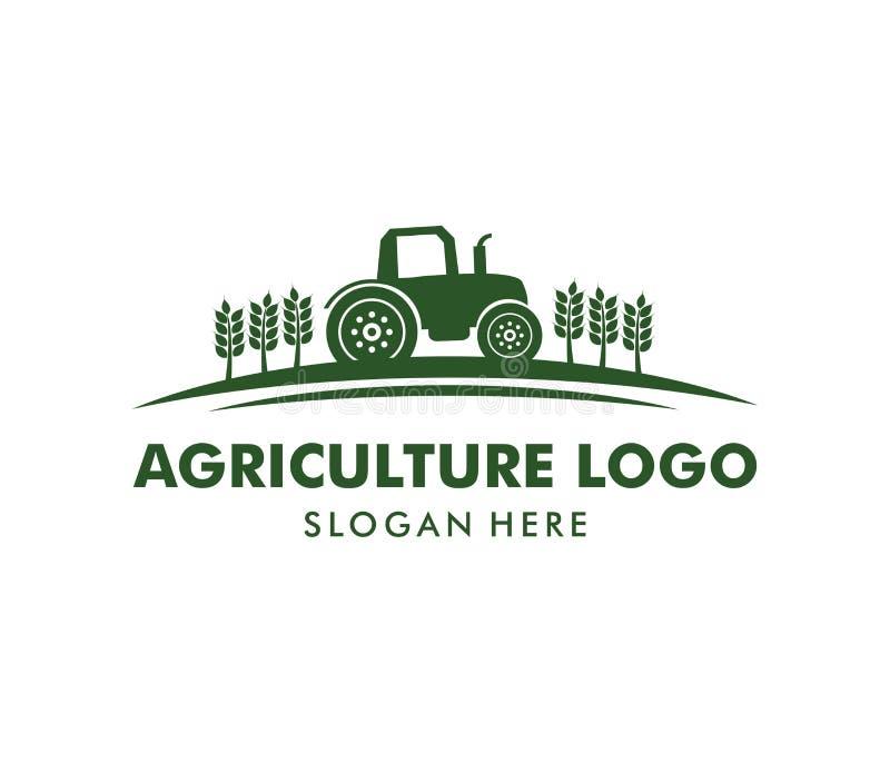 Diseño del logotipo del vector para la agricultura, agronomía, granja del trigo, campo de cultivo rural del país, cosecha natural stock de ilustración