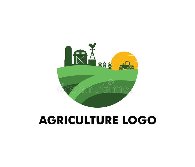 Diseño del logotipo del vector para la agricultura, agronomía, granja del trigo, campo de cultivo rural del país, cosecha natural ilustración del vector