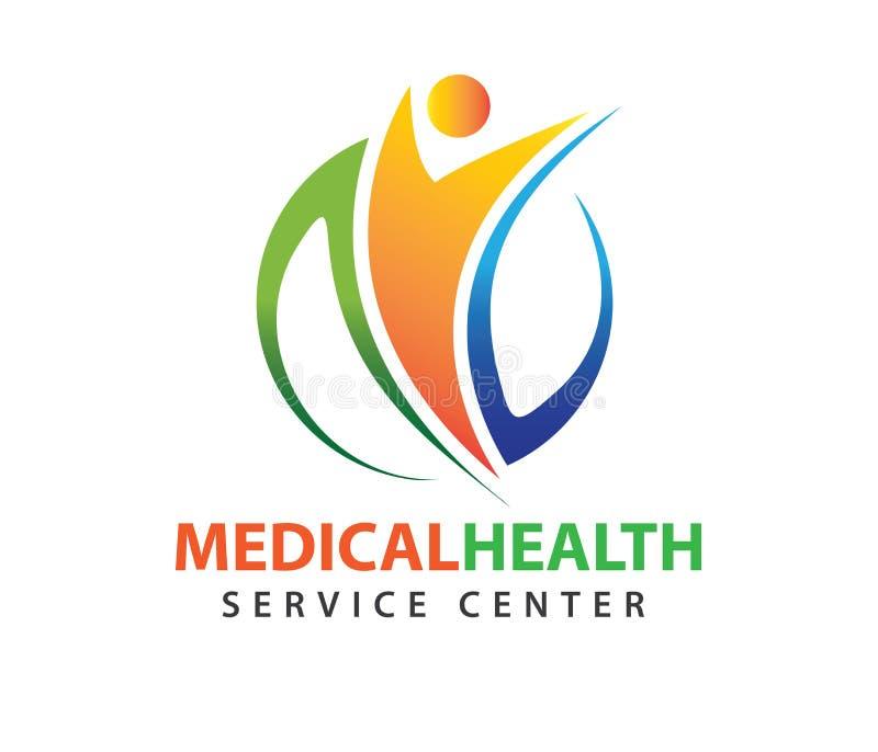 Diseño del logotipo del vector para la atención sanitaria, doctor sano de la clínica de la familia, centro de la salud, farmacia, stock de ilustración