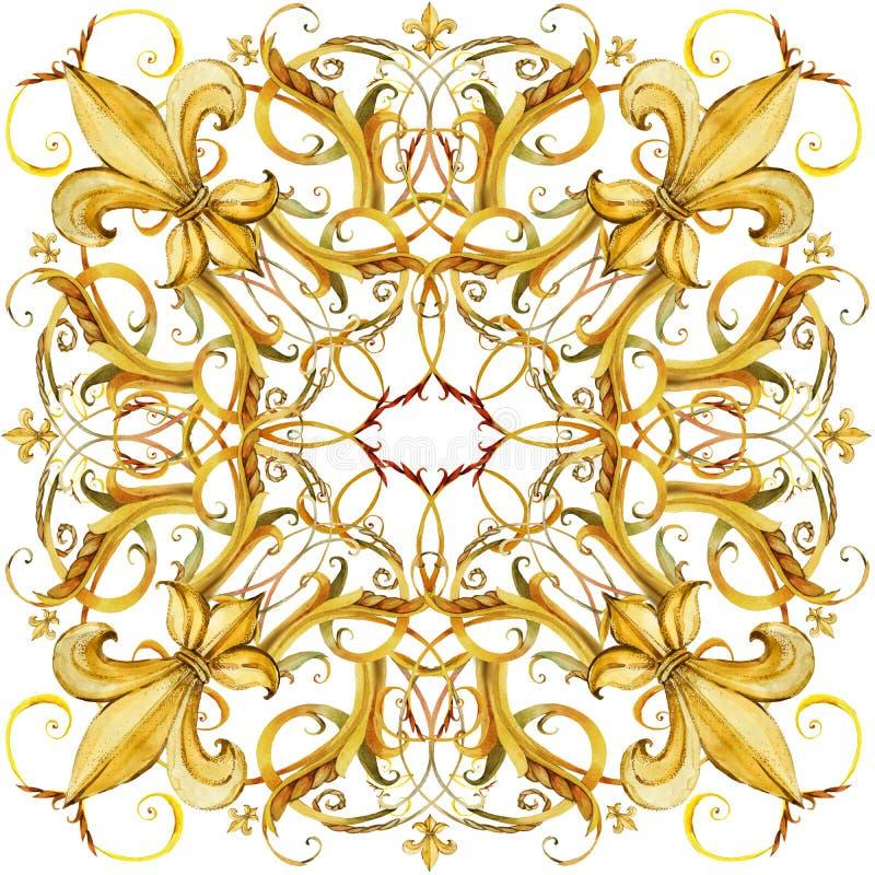 Diseño del mantón de la moda Bufanda de seda con el cordón de oro de la joyería ilustración del vector