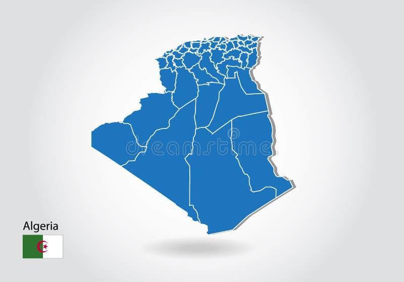 Diseño del mapa de Argelia con el estilo 3D Mapa azul de Argelia y bandera nacional Mapa simple del vector con el contorno, forma libre illustration
