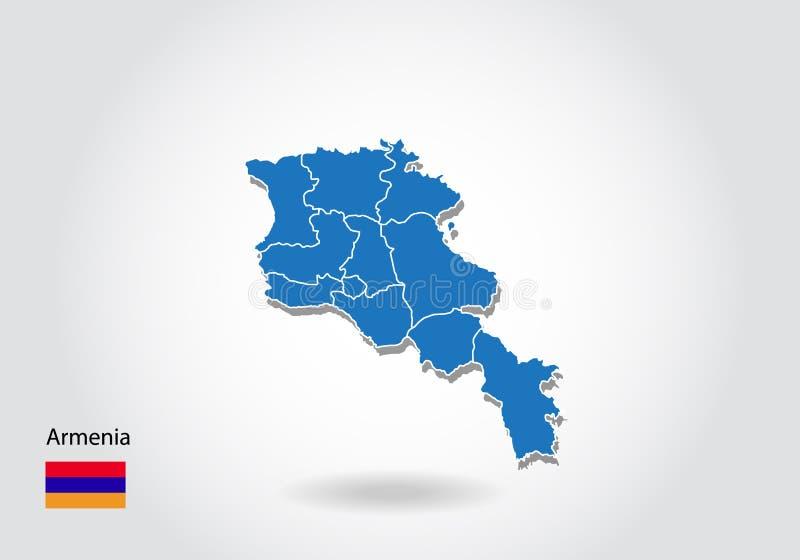 Diseño del mapa de Armenia con el estilo 3D Mapa azul de Armenia y bandera nacional Mapa simple del vector con el contorno, forma libre illustration