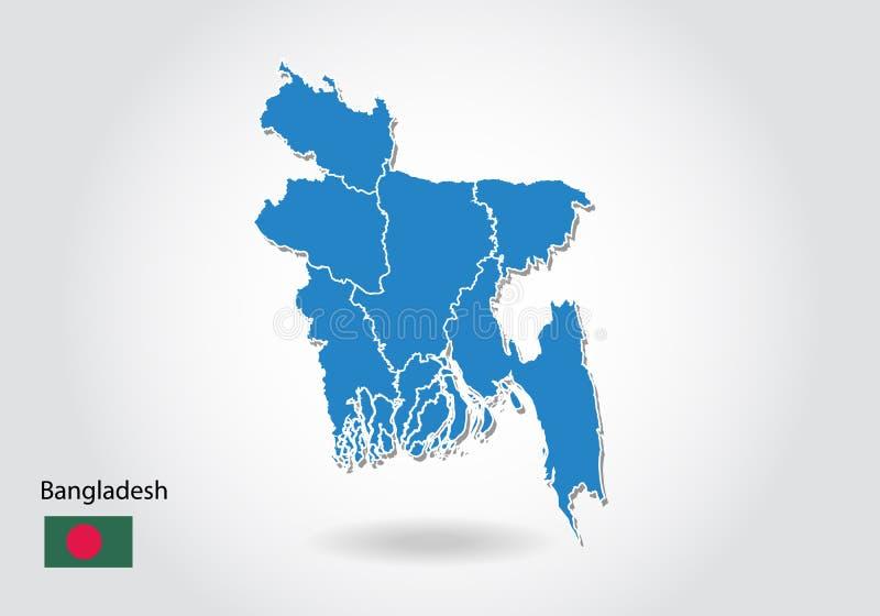 Diseño del mapa de Bangladesh con el estilo 3D Mapa azul de Bangladesh y bandera nacional Mapa simple del vector con el contorno, libre illustration