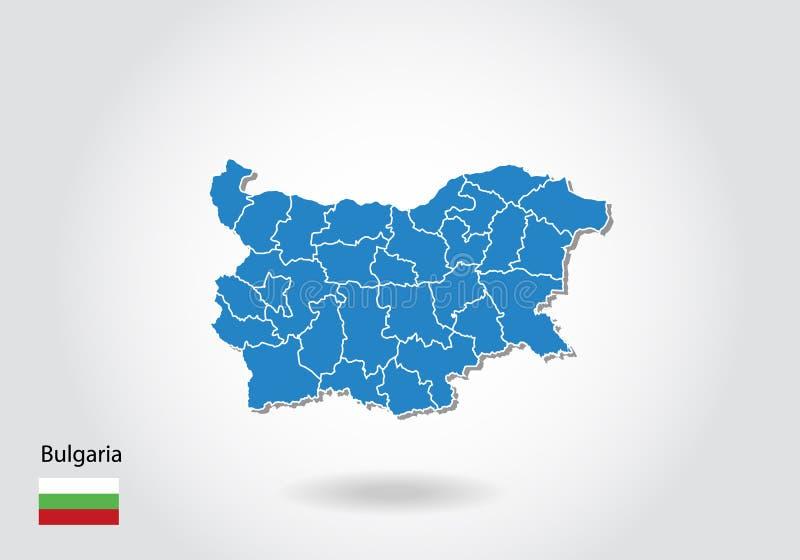 Diseño del mapa de Bulgaria con el estilo 3D Mapa azul de Bulgaria y bandera nacional Mapa simple del vector con el contorno, for ilustración del vector