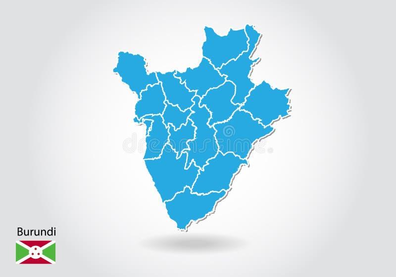 Diseño del mapa de Burundi con el estilo 3D Mapa azul de Burundi y bandera nacional Mapa simple del vector con el contorno, forma libre illustration